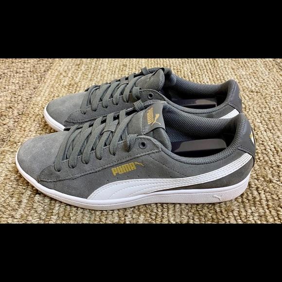 Women's Puma Vikky Grey Suede Tennis Shoes